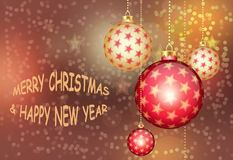 Tarjeta de felicitación con la Navidad y el Año Nuevo ilustración del vector
