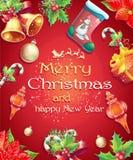 Tarjeta de felicitación con la Navidad y el Año Nuevo con la imagen de los artículos de la Navidad Foto de archivo libre de regalías