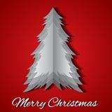 Tarjeta de felicitación con la papiroflexia árbol de navidad y deseo Foto de archivo libre de regalías