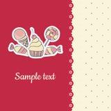 Tarjeta de felicitación con la plantilla de los caramelos del dibujo de la mano Fotos de archivo