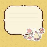 Tarjeta de felicitación con la plantilla de los caramelos del dibujo de la mano Imágenes de archivo libres de regalías