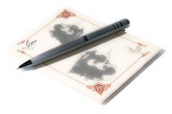 Tarjeta de felicitación con la pluma imagen de archivo libre de regalías
