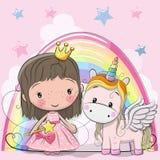 Tarjeta de felicitación con la princesa y el unicornio del cuento de hadas