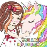 Tarjeta de felicitación con la princesa y el unicornio del cuento de hadas de la historieta ilustración del vector