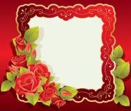 Tarjeta de felicitación con la rosa y el marco de los remolinos Fotos de archivo libres de regalías