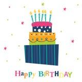 Tarjeta de felicitación con la torta de cumpleaños Foto de archivo
