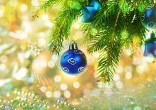 Tarjeta de felicitación con las bolas de la Navidad en la ramificación Fotografía de archivo libre de regalías