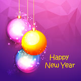 Tarjeta de felicitación con las bolas de Navidad por Año Nuevo Imagen de archivo