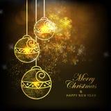 Tarjeta de felicitación con las bolas de Navidad por la Navidad y el Año Nuevo Foto de archivo libre de regalías