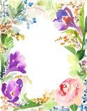 Tarjeta de felicitación con las flores Árbol congelado solo handmade Fotos de archivo libres de regalías