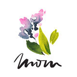 Tarjeta de felicitación con las flores Árbol congelado solo handmade watercolor Imagenes de archivo