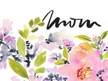 Tarjeta de felicitación con las flores Árbol congelado solo handmade watercolor Fotografía de archivo libre de regalías