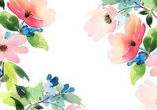 Tarjeta de felicitación con las flores Árbol congelado solo handmade watercolor Fotografía de archivo