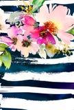 Tarjeta de felicitación con las flores Árbol congelado solo handmade watercolor Imagen de archivo