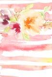 Tarjeta de felicitación con las flores Árbol congelado solo handmade watercolor Foto de archivo