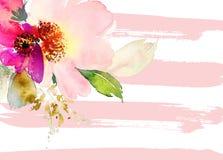 Tarjeta de felicitación con las flores Árbol congelado solo handmade watercolor Fotos de archivo libres de regalías