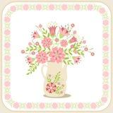 Tarjeta de felicitación con las flores Imagenes de archivo