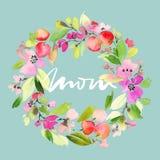 Tarjeta de felicitación con las flores Fotos de archivo