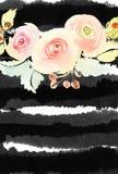 Tarjeta de felicitación con las flores Imágenes de archivo libres de regalías