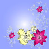Tarjeta de felicitación con las flores abstractas Imágenes de archivo libres de regalías