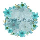 Tarjeta de felicitación con las flores azules Foto de archivo libre de regalías