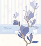 Tarjeta de felicitación con las flores de la magnolia ilustración del vector
