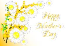 Tarjeta de felicitación con las flores el día de madre Foto de archivo libre de regalías