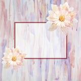 Tarjeta de felicitación con las flores handmade Pintura de la acuarela Imagenes de archivo