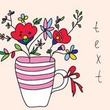 Tarjeta de felicitación con las flores y el florero Imagen de archivo