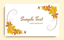 Tarjeta de felicitación con las hojas de otoño amarillas ilustración del vector