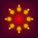 Tarjeta de felicitación con las lámparas del Lit para Diwali