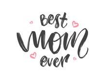Tarjeta de felicitación con las letras manuscritas de la mejor mamá nunca y de corazones rosados Día de madres feliz stock de ilustración