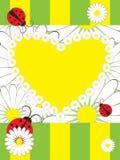Tarjeta de felicitación con las mariquitas Imagen de archivo