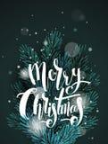 Tarjeta de felicitación con las ramas de árbol de navidad ilustración del vector