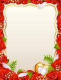 Tarjeta de felicitación con las rosas Imágenes de archivo libres de regalías