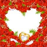 Tarjeta de felicitación con las rosas Imagenes de archivo