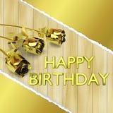 Tarjeta de felicitación con las rosas de oro en de madera Foto de archivo libre de regalías