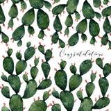 Tarjeta de felicitación con los cactus y las flores libre illustration