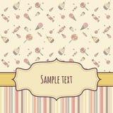 Tarjeta de felicitación con los caramelos del dibujo de la mano Imágenes de archivo libres de regalías