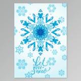 Tarjeta de felicitación con los copos de nieve azules de la acuarela de la pintura de la mano de la acuarela ilustración del vector
