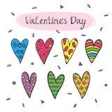 Tarjeta de felicitación con los corazones coloreados lindos Fotos de archivo libres de regalías