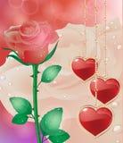 Tarjeta de felicitación con los corazones de las flores El día de madre de la tarjeta, el día de tarjeta del día de San Valentín stock de ilustración