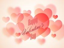 Tarjeta de felicitación con los corazones para el día de tarjeta del día de San Valentín Foto de archivo