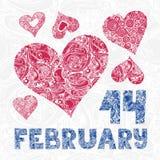 Tarjeta de felicitación con los corazones y las letras rojos decorativos 14 de febrero stock de ilustración