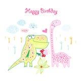Tarjeta de felicitación con los dinosaurios Foto de archivo libre de regalías