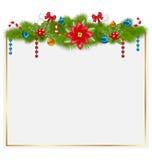 Tarjeta de felicitación con los elementos tradicionales de la Navidad Imagen de archivo