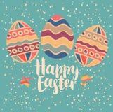 Tarjeta de felicitación con los huevos de Pascua