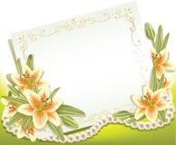 Tarjeta de felicitación con los lirios Foto de archivo libre de regalías