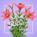 Tarjeta de felicitación con los lirios rosados para el día de madres Fotos de archivo libres de regalías
