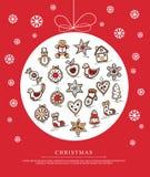 Tarjeta de felicitación con los panes de jengibre de la Navidad Fotos de archivo